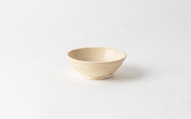 A SONG DYNASTY STYLE WHITE POTTERY BOWL MOULDED FLORAL PATTERN, 13 CM DIAMETER, LEONARD JOEL LOCAL DELIVERY SIZE: SMALL