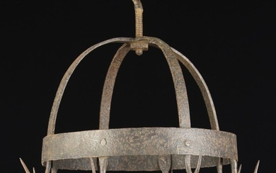 A Small 18th/19th Century Wrought Iron Pendant Game Hanger with eight hooks attached to a hoop on do