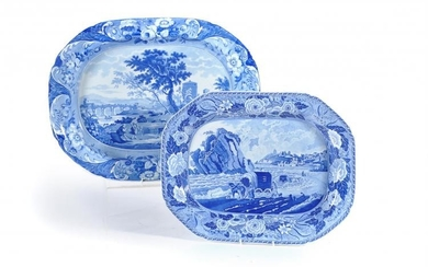 A Staffordshire blue and white printed pearlware shaped octagonal serving dish from the 'Monk's Rock' series
