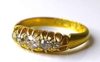 A Victorian 18ct gold and diamond five stone ring, the centr...