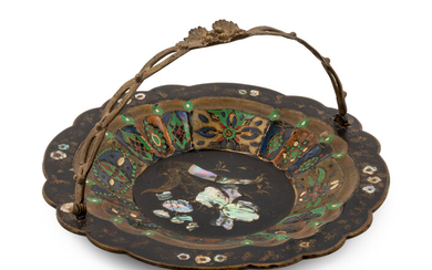 A Victorian Mother-of-Pearl Inlaid Lacquered Basket