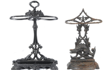 A Victorian black painted cast iron stick stand in the manner of Coalbrookdale