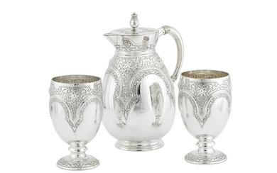 A Victorian sterling silver claret or cordial set