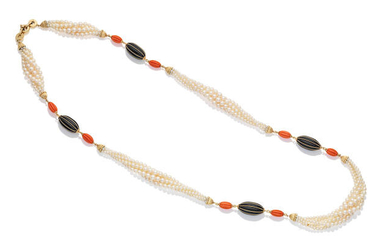 A cultured pearl, coral and onyx sautoir,, by Garrard, 1978