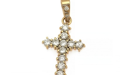 A diamond pendant in the shape of a cross set with numerous brilliant-cut diamonds totalling app. 0.91 ct., mounted in 18k gold. 3.5×1.5 cm.