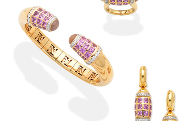 A gem-set bangle, pendent earring and ring suite