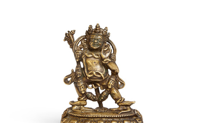 A gilt bronze figure of Vajrapani