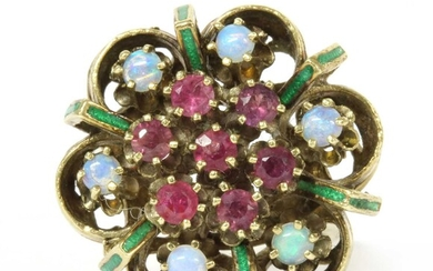 A gold opal, ruby and enamel cluster ring
