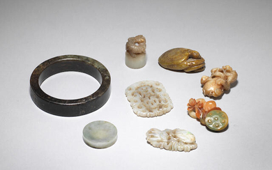 A group of jade, jadeite and hardstone carvings