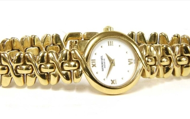A ladies' gold plated Raymond Weil quartz bracelet watch