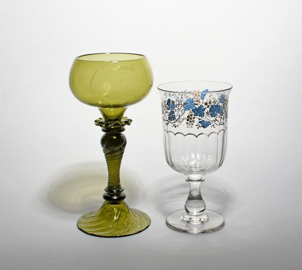 A large green glass ceremonial goblet dated 1882, the shallow...