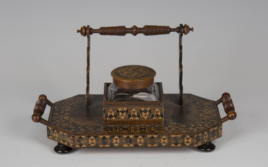 A late Victorian Tunbridge ware inkstand, fitted with a cut glass inkwell and turned handles, width