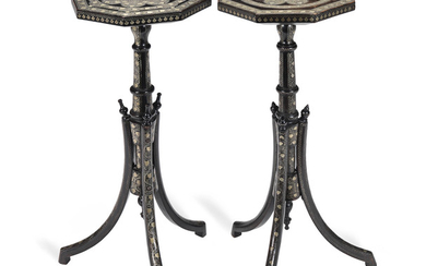A matched pair of late 19th century Ottoman silvered metal and wire-work inlaid stained wood pedestal tables or coffee stands