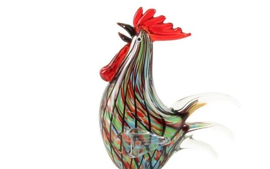 A murano glass Rooster (red colors)