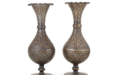 A pair of Qajar gold-damascened steel vases, Persia, 19th Century