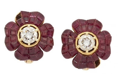 A pair of diamond and ruby earrings...