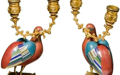 A pair of fine Chinese girandoles as incense burners,