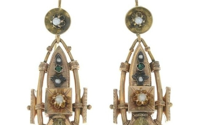 A pair of late 19th century split pearl and gem-set