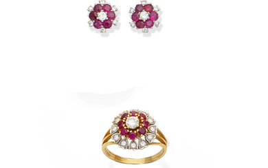 A ruby and diamond ring, and a pair of ruby and diamond earstuds