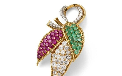 A ruby, emerald and diamond brooch, by Kutchinsky, 1961
