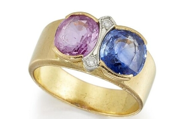 A sapphire and pink sapphire ring, with...