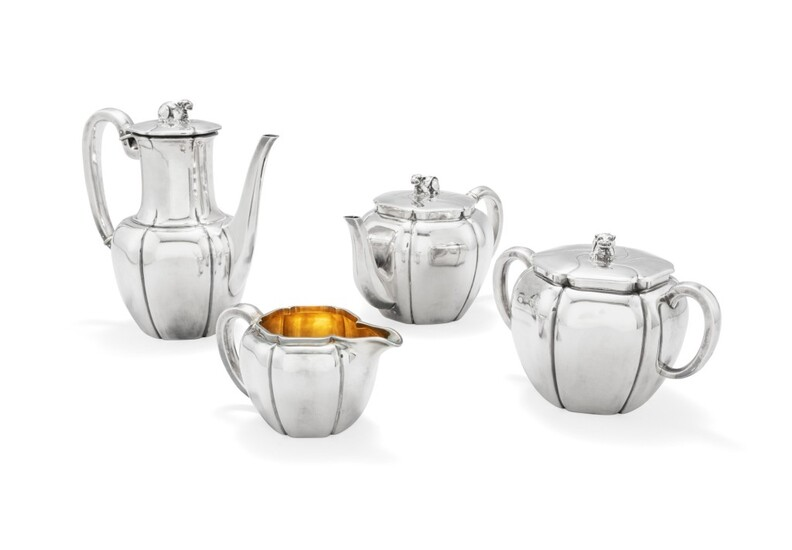 A silver and ivory tea and coffee set, Odiot, Paris, circa 1870 | Service à thé et café en argent et ivoire par Odiot, Paris, vers 1870