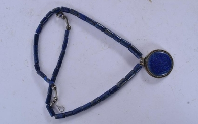 AN EARLY 20TH CENTURY CARVED LAPIS LAZULI NECKLACE
