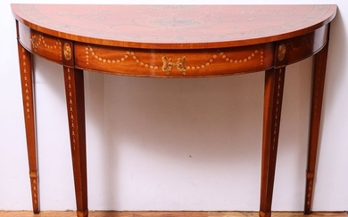 Adams Style Painted Wood Demilune Console
