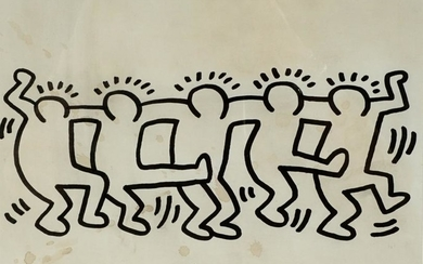 After Keith Haring Five Figures Dancing Drawing