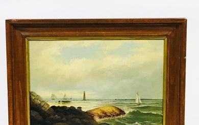 American School, 19th/20th Century Coastal Scene with a Lighthouse. Unsigned. Oil on board, 8 1/2 x 11 1/2 in., framed.