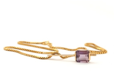 SOLD. Amethyst pendant set with faceted amethyst, mounted in 14k gold. A 14k gold necklace....