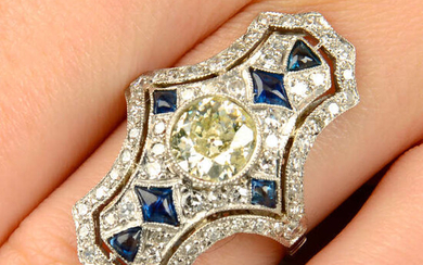 An old-cut diamond, single-cut diamond and calibré-cut sapphire dress ring.