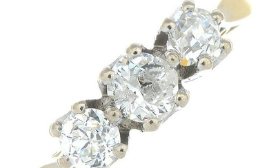 An old-cut diamond three-stone ring.Estimated total