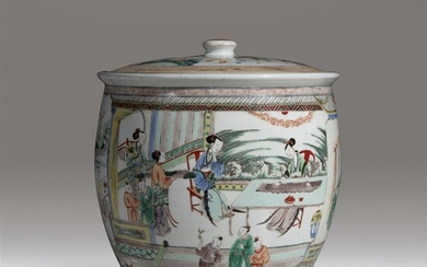 An unusual large Chinese famille verte-decorated porcelain jar and...