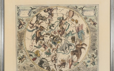 Andreas Cellarius, after: Astrological maps. Four coloured copperplates. Visible size each 38.5×44 cm. (4)