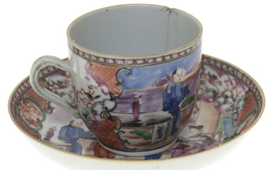 Antique Chinese Mandarin Porcelain Cup and Coaster.