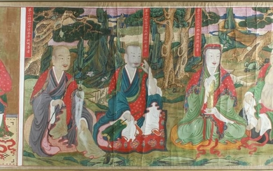 Antique Korean Temple Scroll Tempera on Linen