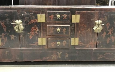 Antique Wooden Low Asian Sideboard