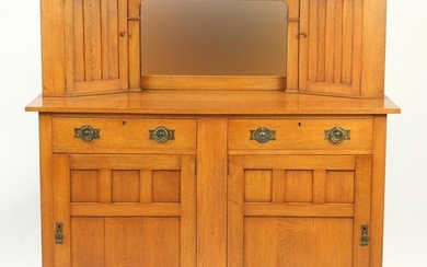Arts & Crafts oak side cabinet with mirrored back,