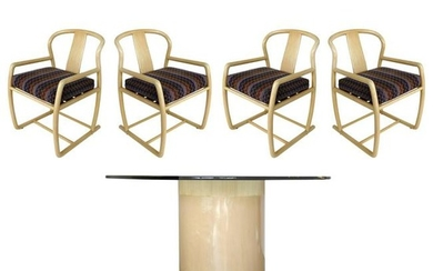 Bentwood Blonde Wood Dining Set with Four Chairs and a