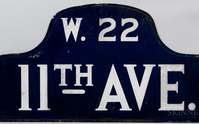 Blue and White Enamel 11th Ave. and W. 22nd Street Sign