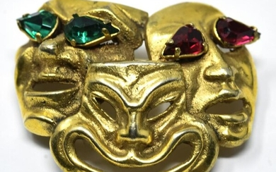 C 1960s French Gilt Bronze Theater Mask Brooch