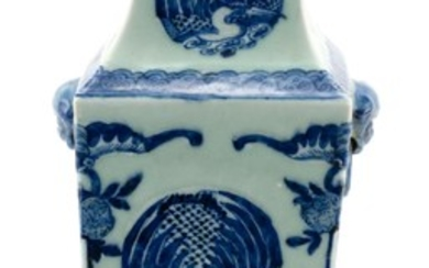 CHINESE BLUE AND CELADON PORCELAIN VASE Rectangular, with mock mask ring handles and decoration of bird rondels surrounded by bats,...