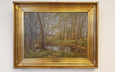Carlo Hornung Jensen: Two girls at a forest lake. Signed H.J. Oil on canvas. 40×55 cm. Frame size 71.5×55.5 cm.