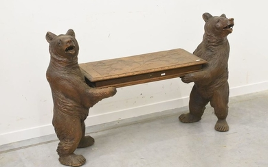 Carved wooden bear bench (ht 76 x 115cm)...