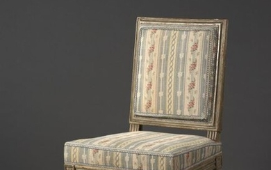 Louis XVI period moulded, carved and relaquered wooden chair