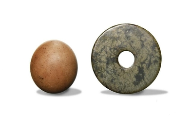 Chinese Jade Bi and Jade Egg, Ming or Earlier