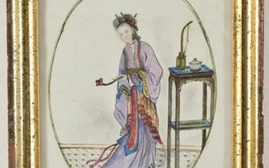 Chinese export watercolor, woman in bright robes