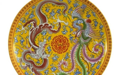 Chinese porcelain plate decorated with a dragon and