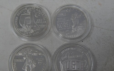 Collection of 4 USA 1oz Silver Coins Proofs, about as struck